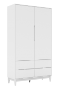 Armário Tomi 2 Portas e 4 Gavetas Branco Fosco