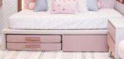 Cama Kids II  com Gaveta e Espaço para Futon | 2 Peças (Futon vendido separadamente| Personalize as cores)