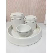 Kit Higiene 4 peças Branco com Friso Prata