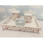 Kit Higiene 4 peças Branco Flor Rosa