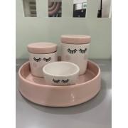 Kit Higiene 4 peças Coleção Cílios Rosa