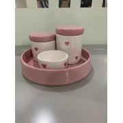 Kit Higiene 4 peças Coleção Coração Rosa