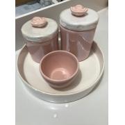 Kit Higiene 4 peças Coleção Flor Perolizado