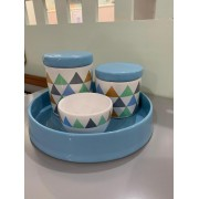 Kit Higiene 4 peças Coleção Triângulo Colorido  Azul
