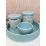 Kit Higiene 4 peças Coleção Granilite Azul
