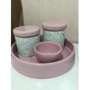 Kit Higiene 4 peças Coleção Granilite Rosa