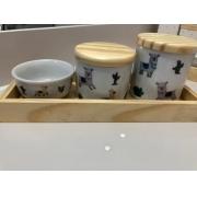 Kit Higiene 4 peças Coleção Lhama Bandeja Pinus