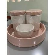Kit Higiene 4 peças Coleção Poá Rosa Metalizado