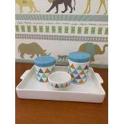 Kit Higiene 4 peças Coleção Triângulo Azul