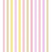 Papel de Parede Algodão Doce Listrado Tons de Rosa e Amarelo