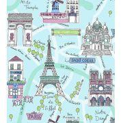 Papel de Parede Algodão Doce Paris Torre Eiffel Azul