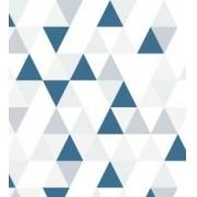 Papel de Parede Triângulo Branco,Cinza,Cinza Claro e Marinho