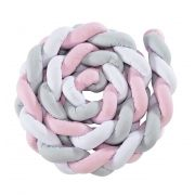 Protetor Trança Montessoriano Rosa/Branco/Cinza