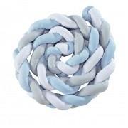 Protetor Trança Para Berço Cinza/Branco/Azul Bebe