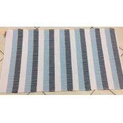 Tapete Retangular de Algodão Listras Branco,Azul Marinho,Azul Claro