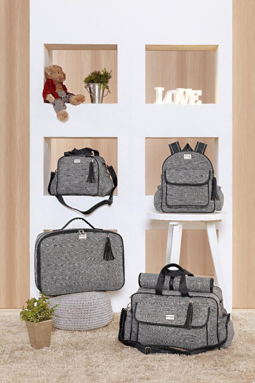 Conjunto Bolsa Maternidade com Mochila Coleção Adventure Cinza