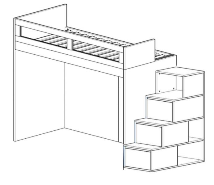 Cama Alta Kids I com Escada Gavetão | 2 Peças (Personalize as cores e o lado da escada)
