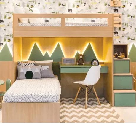 Cama Alta Kids I + Cama Inferior com Auxiliar + Escada Gavetão + Escrivaninha + Conjunto de Montanhas | 6 Peças (Personalize as cores)