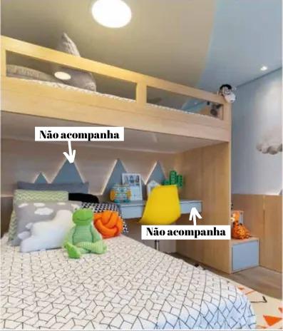 Cama Alta Kids I com Cama Inferior com Auxiliar e Escada Gavetão | 4 Peças (Personalize as cores e o lado da escada)