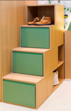 Cama Alta com Cama Inferior e Auxiliar, Escada, Escrivaninha e Conjunto de Montanhas na cor Carvalho Malva com Verde