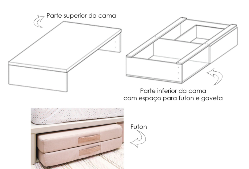 Cama Kids Carvalho com Gaveta rosa, Grade de Proteção e espaço para Futon ( Futon Separado )
