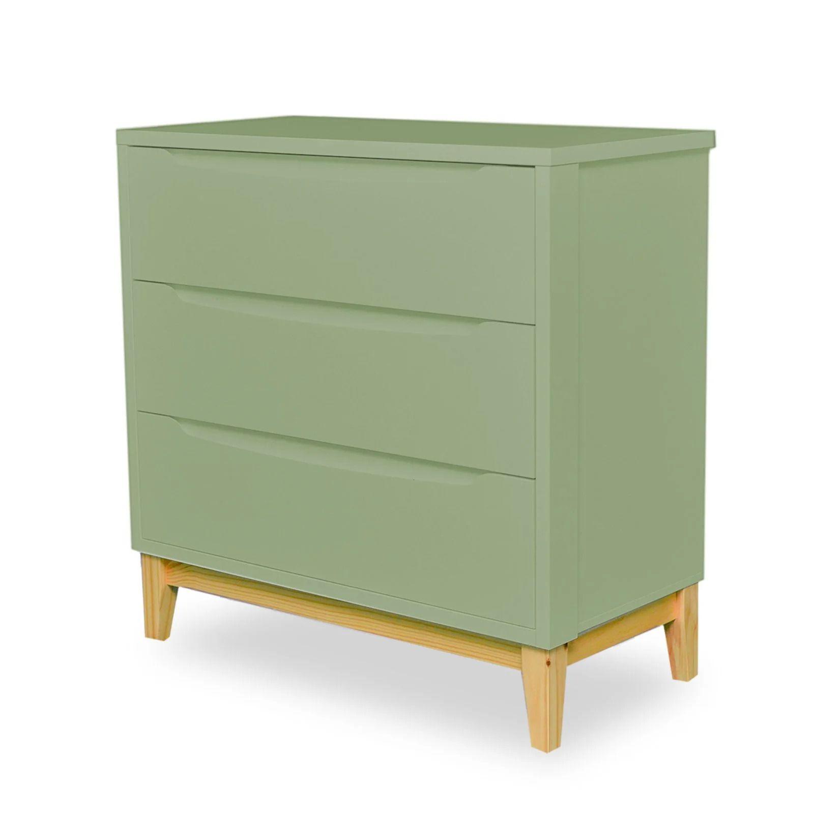 Cômoda Infantil 3 gavetas - coleção Amor Perfeito verde