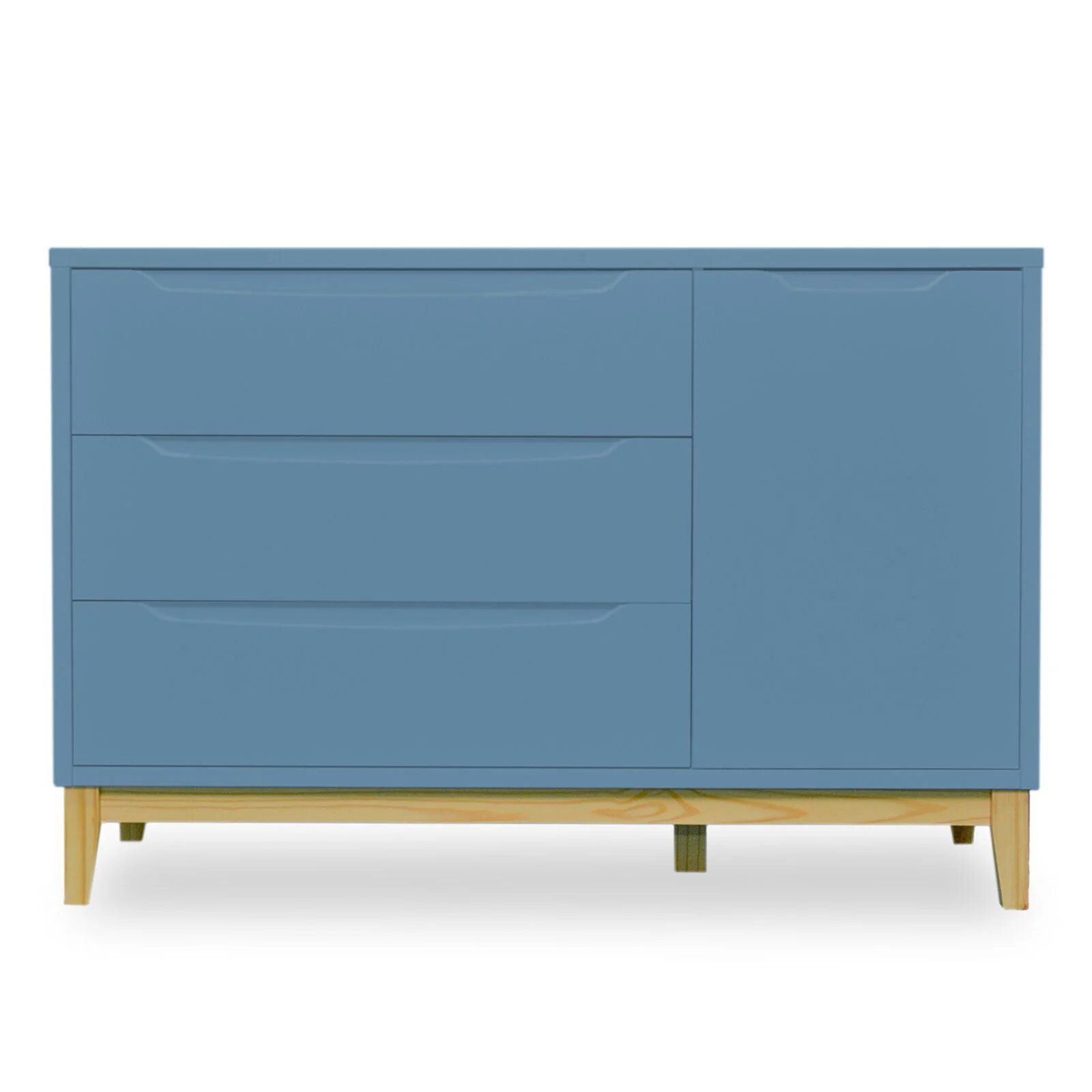 Cômoda Infantil 3 gavetas e 1 porta - coleção Amor Perfeito Azul