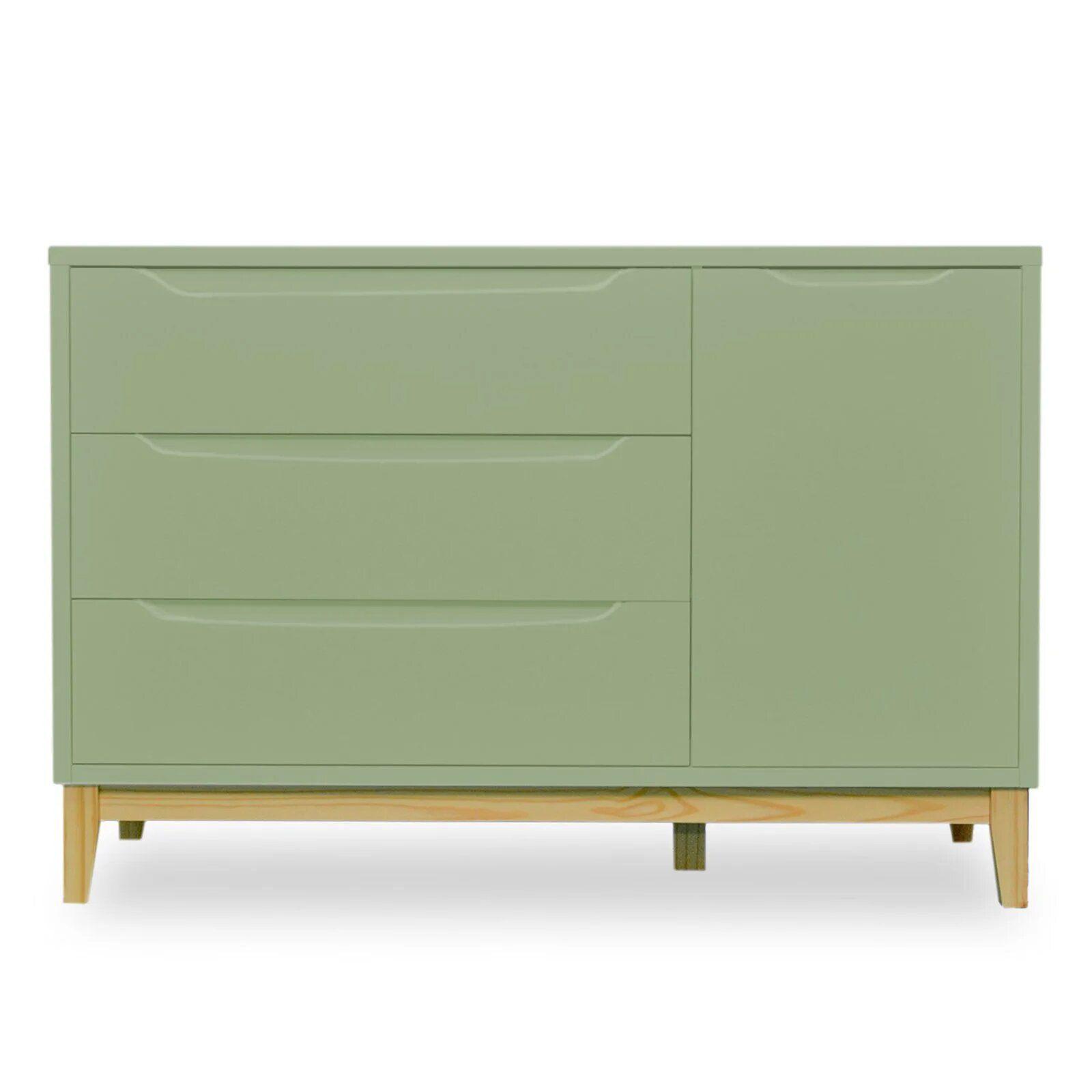 Cômoda Infantil 3 gavetas e 1 porta - coleção Amor Perfeito verde