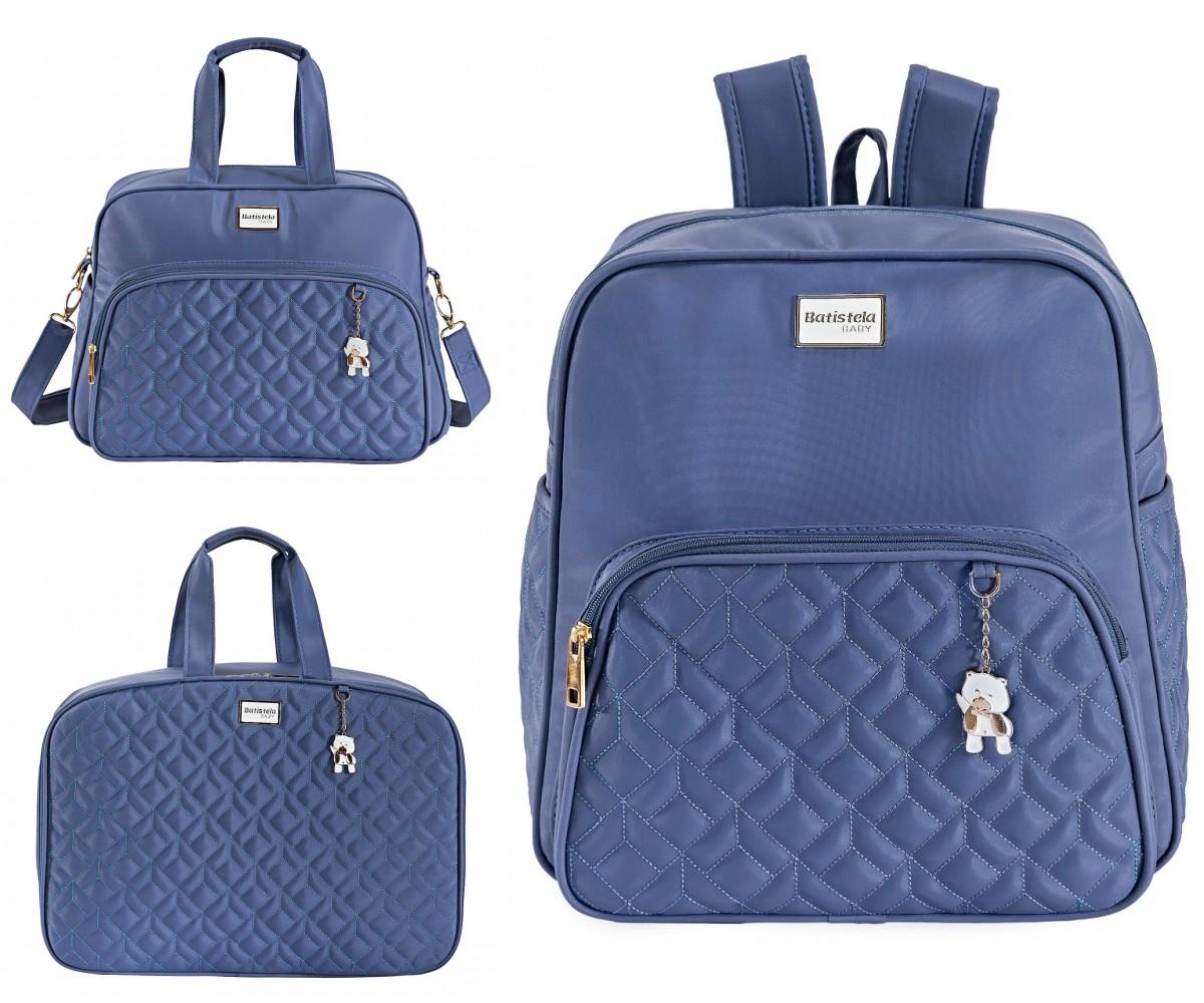 Conjunto Bolsa Maternidade com Mochila Coleção Cambridge Azul