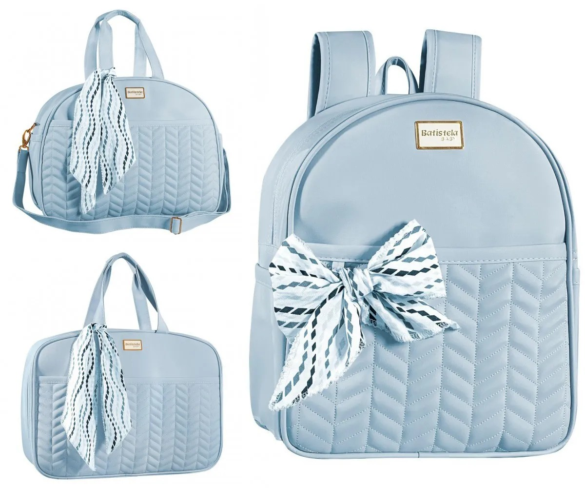Conjunto Bolsa Maternidade com Mochila Coleção Quebec Azul