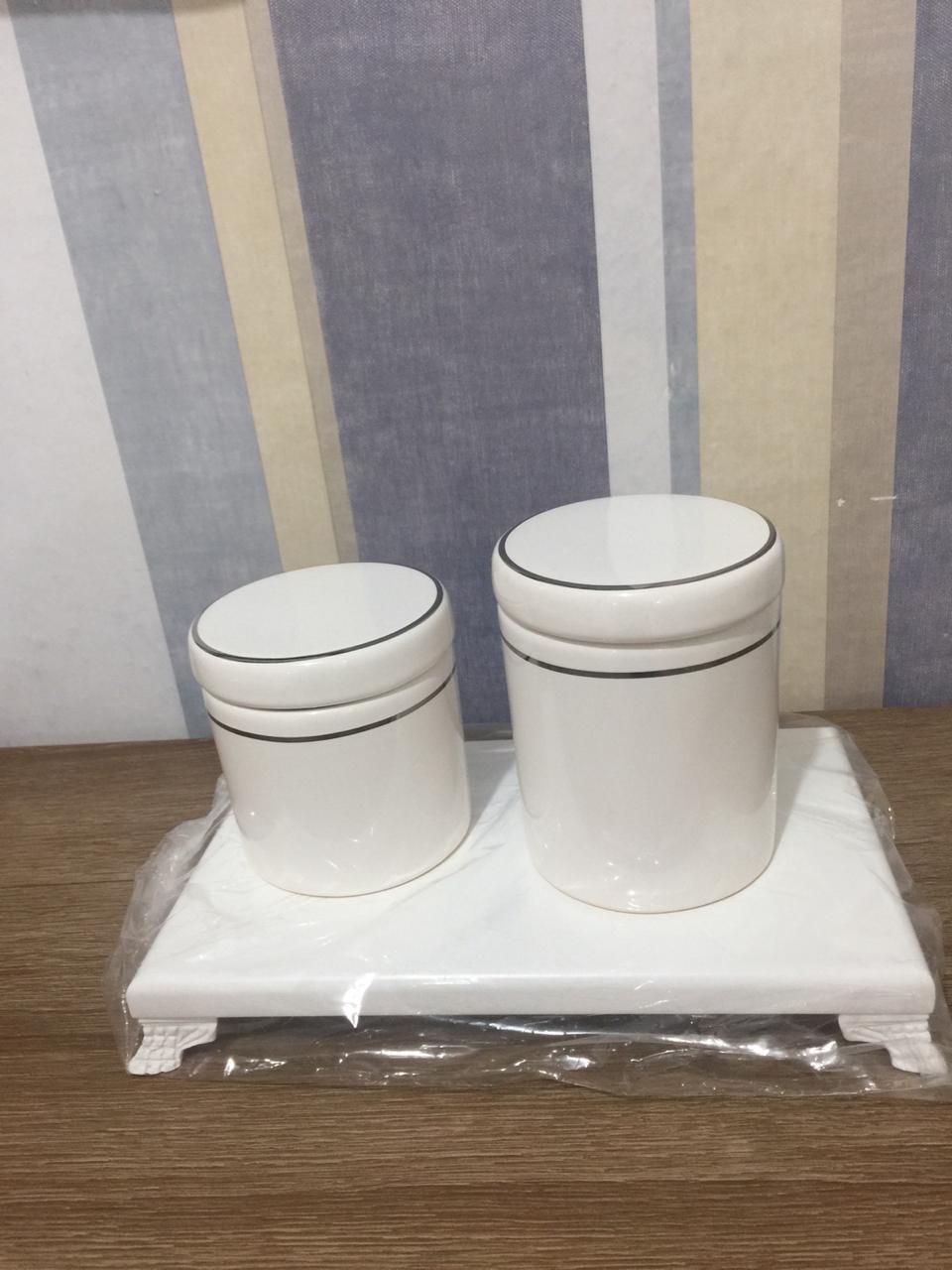Kit Higiene 3 peças Branco com Friso Prata