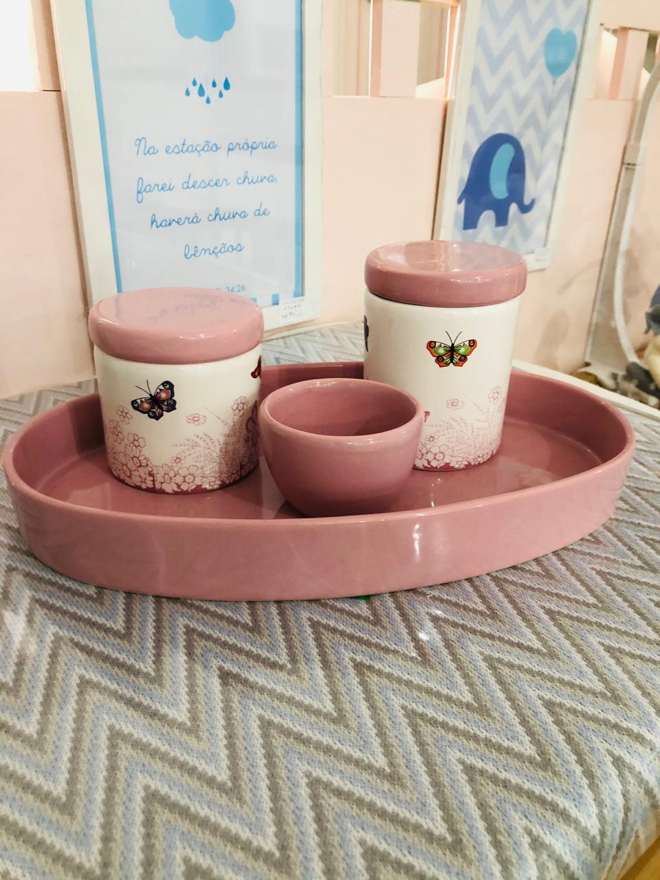 Kit Higiene 4 peças Coleção Borboleta