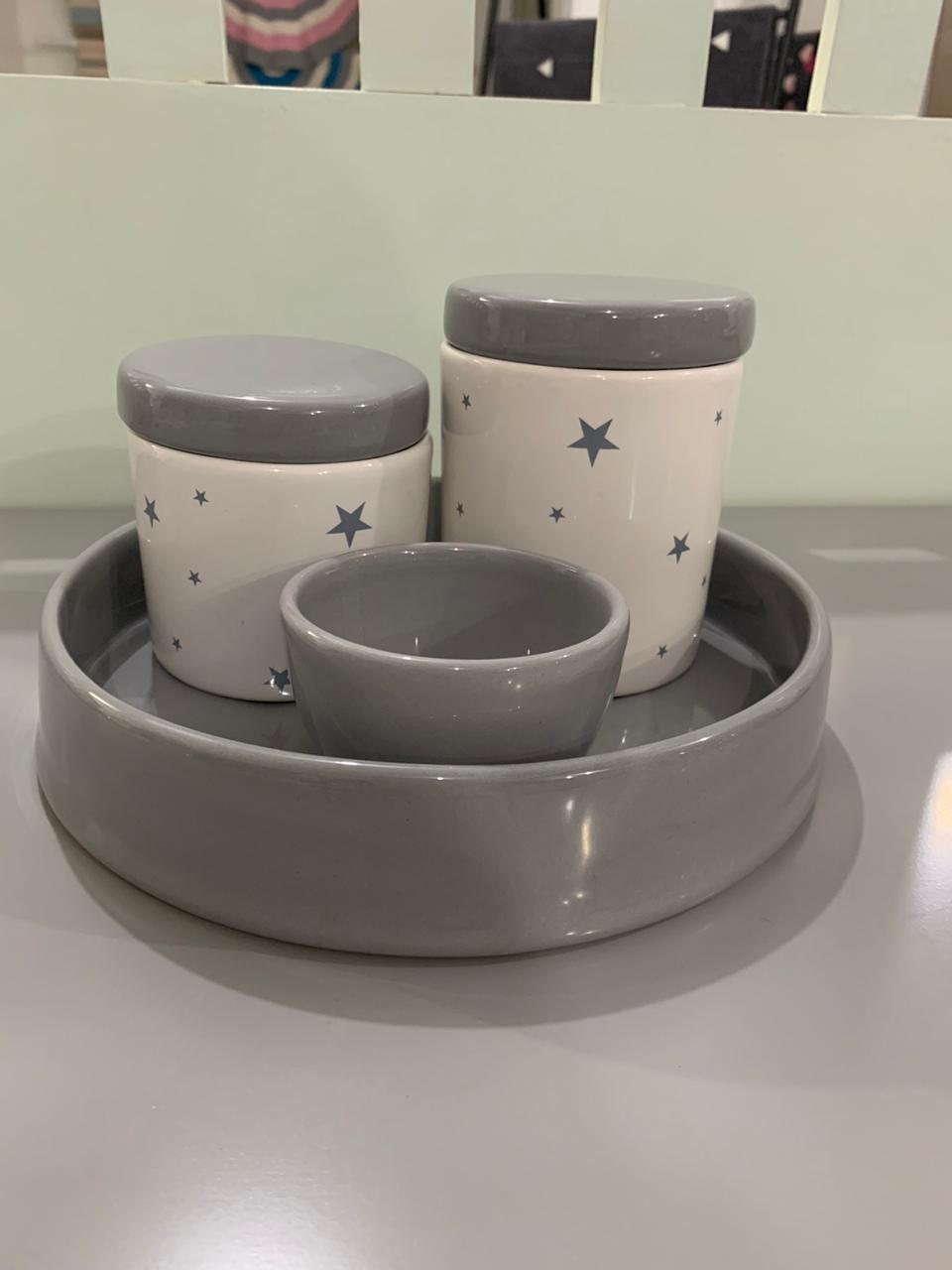 Kit Higiene 4 peças Coleção Estrela Cinza