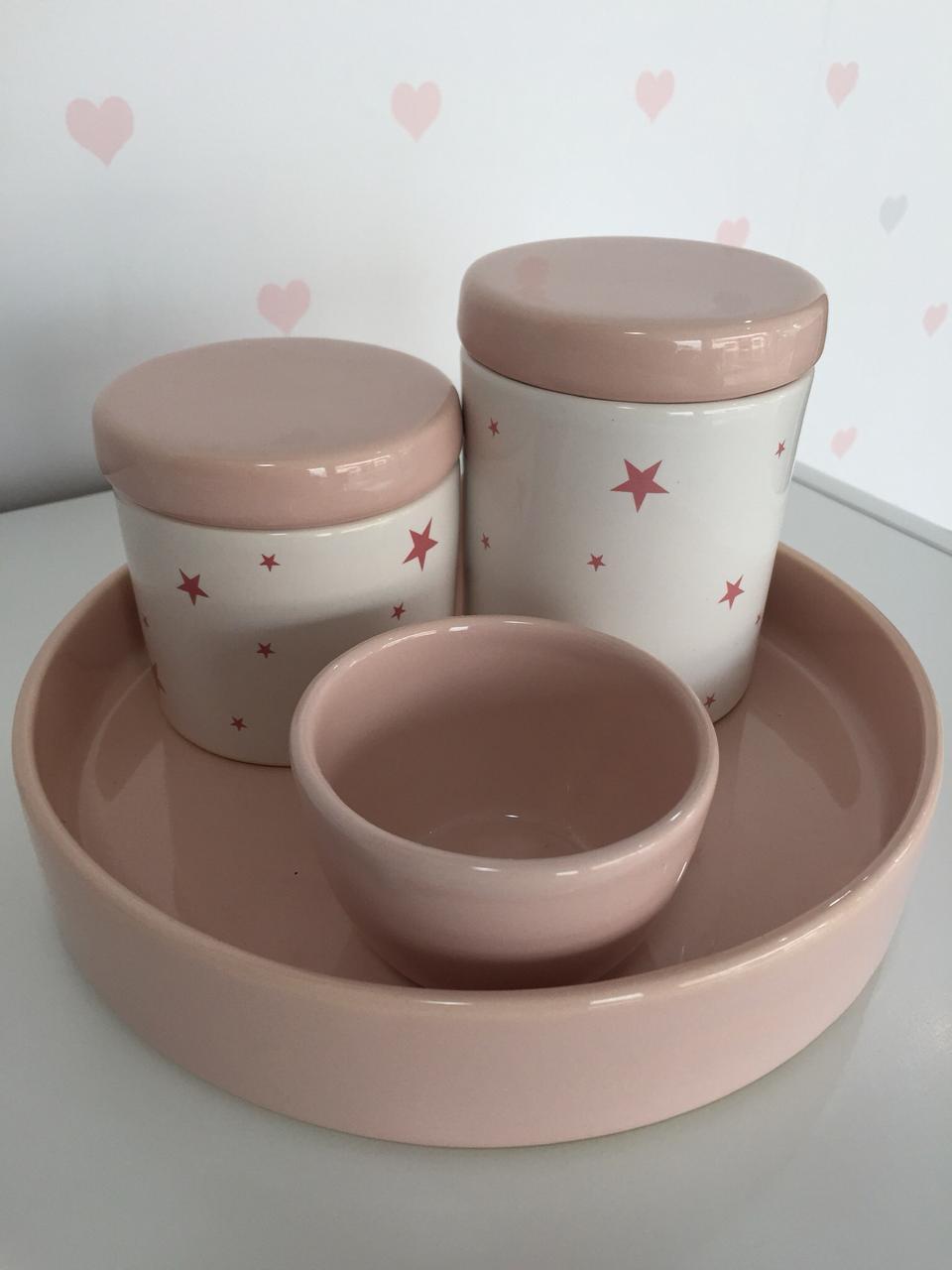 Kit Higiene 4 peças Coleção Estrela Rosa