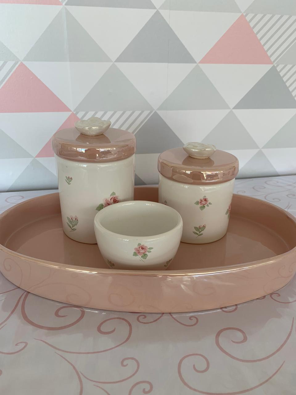 Kit Higiene 4 peças Coleção Flor Perolada