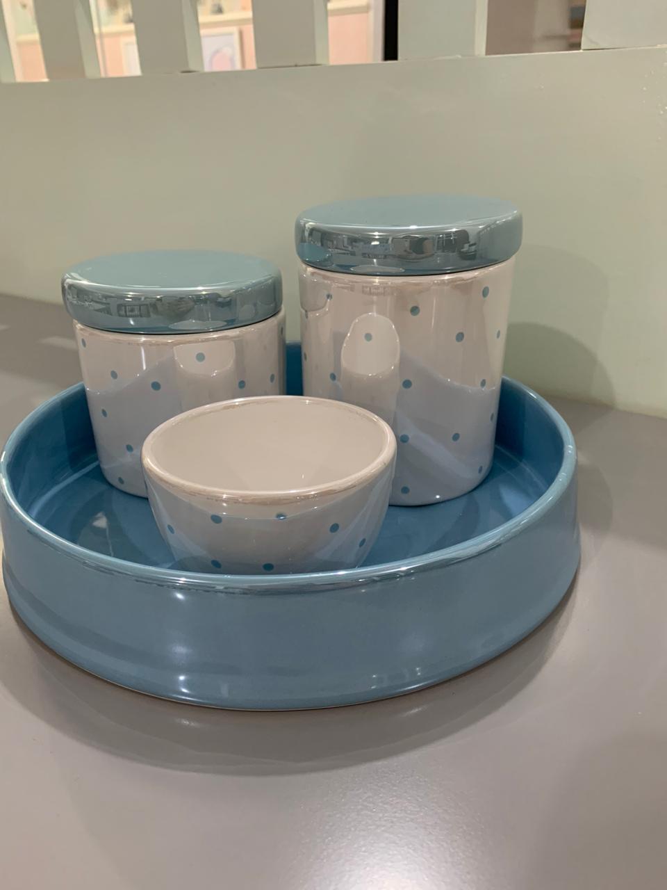 Kit Higiene 4 peças Coleção Poá Azul Metalizado