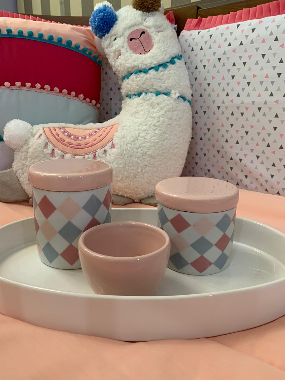 Kit Higiene 4 peças Coleção Losango Rosa