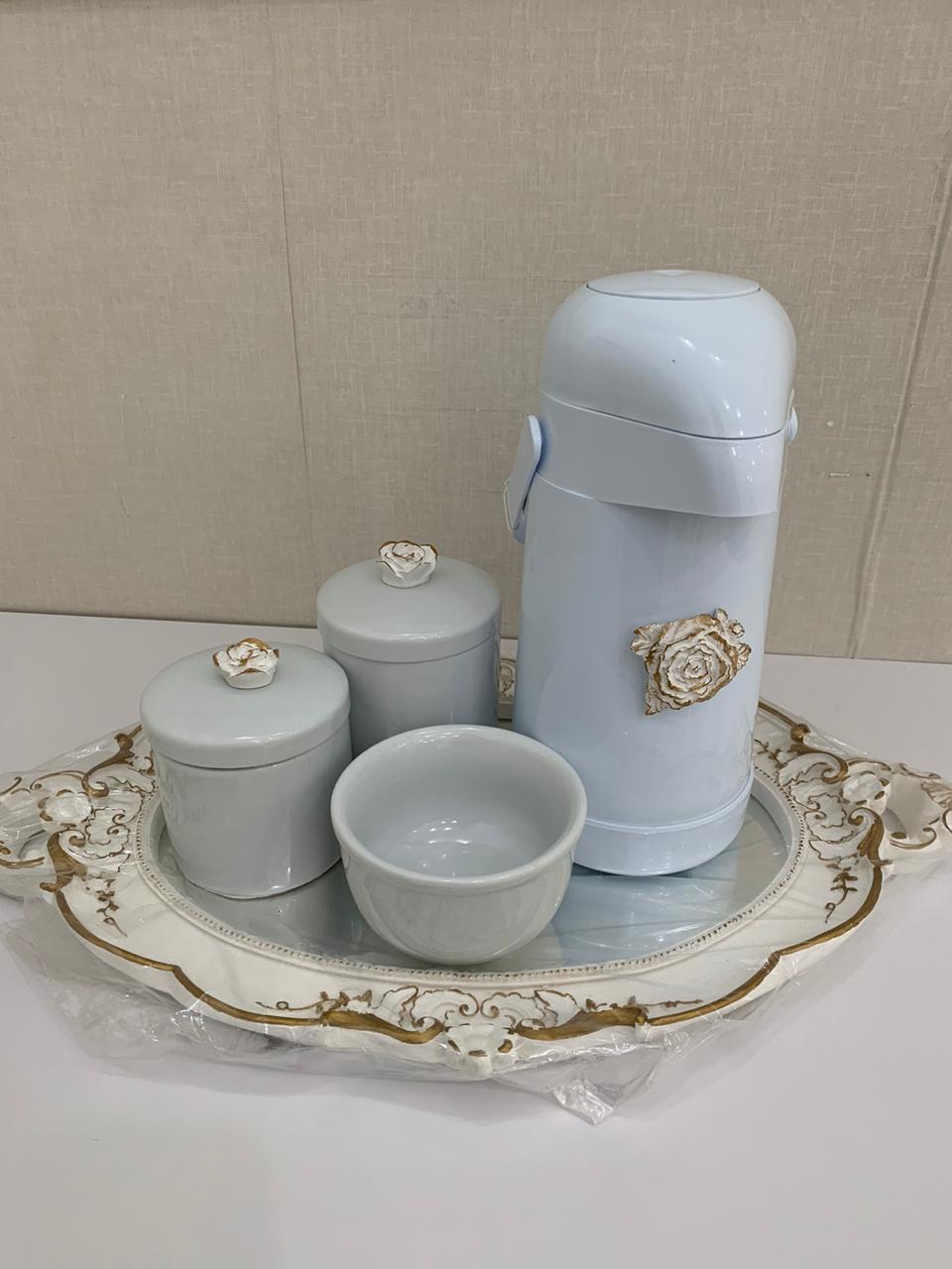 Kit Higiene 5 peças Coleção Flor Imperial com Garrafa Térmica