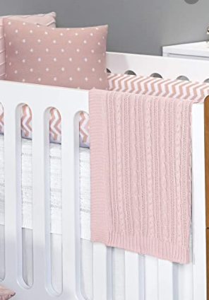 Manta de Bebê Tricot Cor Rosa