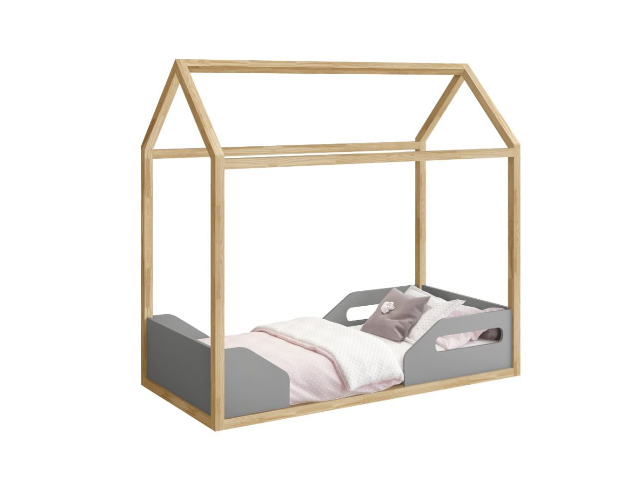 Mini Cama Montessoriana Zoe Cinza / Natural