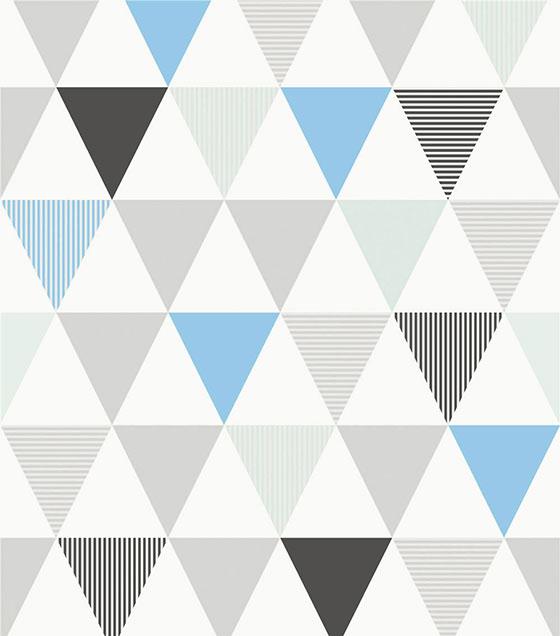 Papel de Parede Algodão Doce Triângulos Azul e Cinza