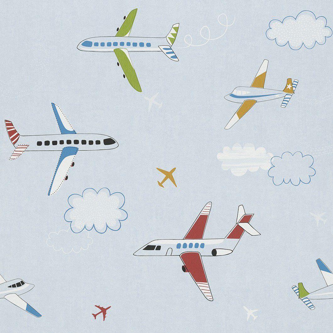Papel de Parede Aviões Coloridos Fundo Azul
