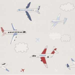Papel de Parede Aviões Coloridos Fundo Bege