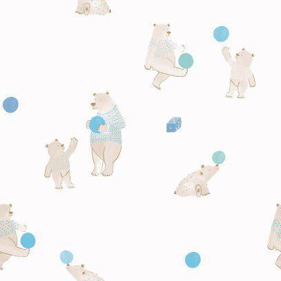 Papel de Parede Brincar Urso Azul