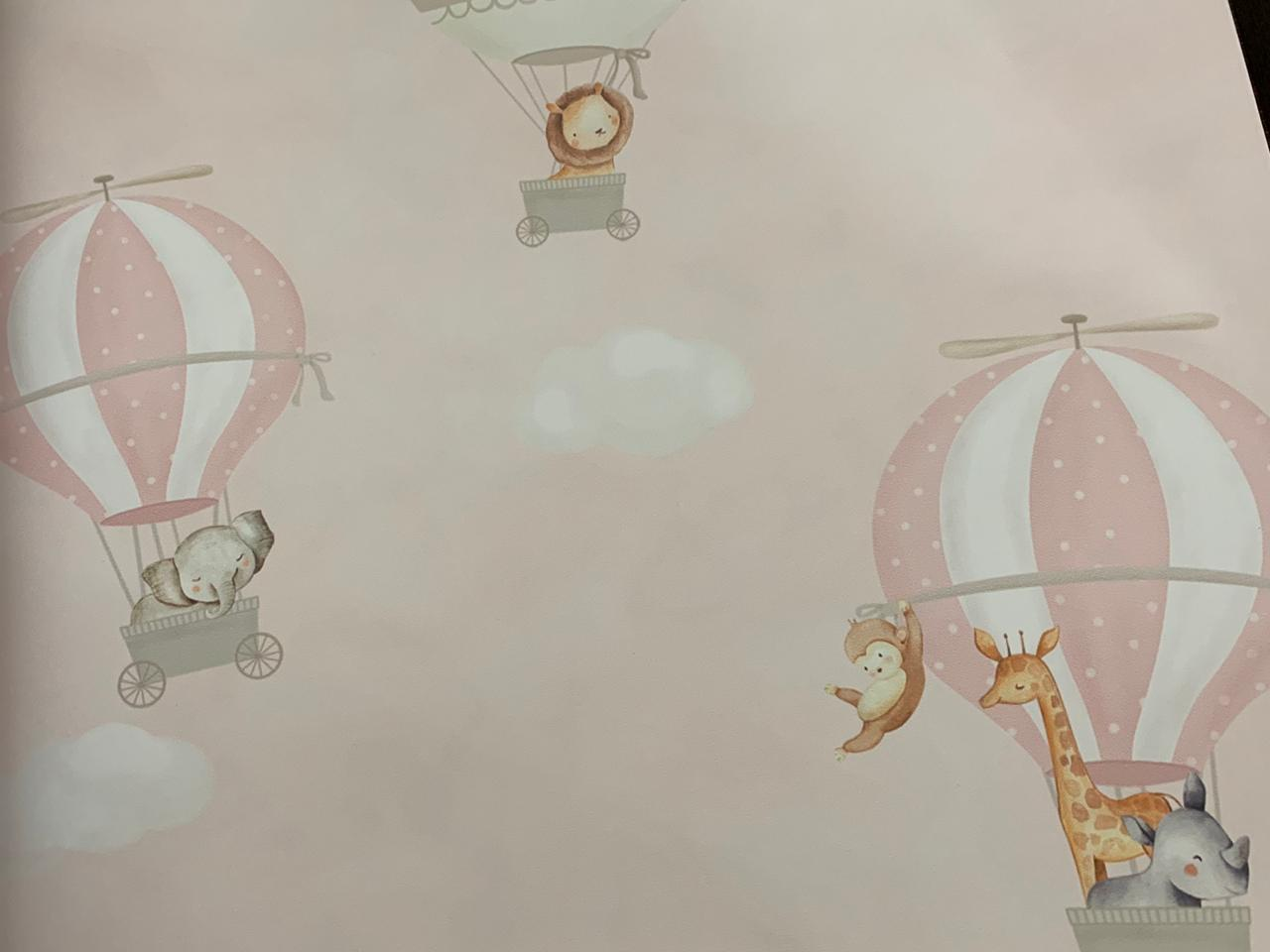 Papel de Parede Bichinhos no Balão Rosa