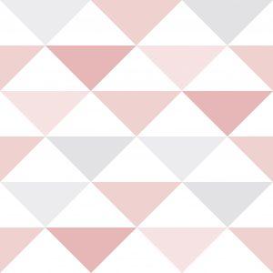 Papel de Parede Brincar Triangulo Geométrico Rosa