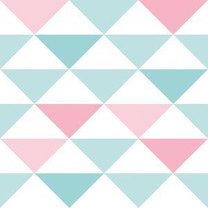 Papel de Parede Brincar Triangulo Geométrico Rosa e Azul
