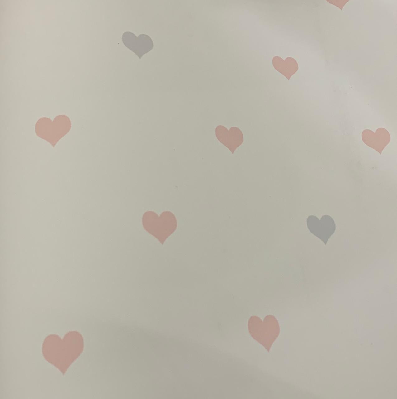 Papel de Parede Coração Rosa e Cinza