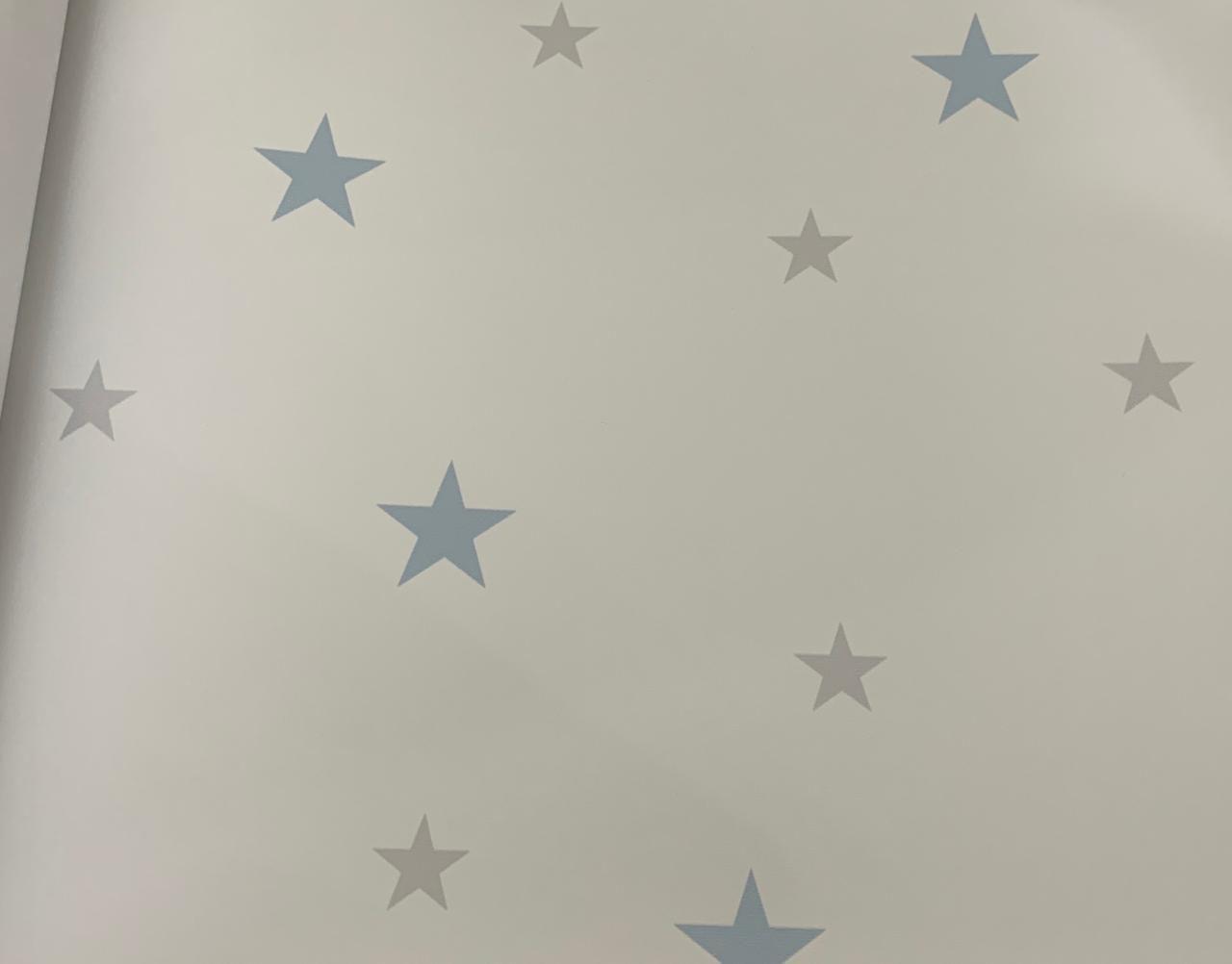 Papel de Parede Estrelinha Azul e Cinza