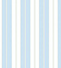 Papel de Parede Listras Largas Branco e Azul com Fios Creme